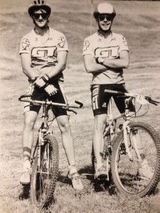 Employees Matt Stegall and Chad Busby at a mountain bike race in the 90's